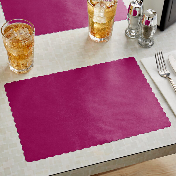 """Choice 10"""" x 14"""" Burgundy Colored Paper Placemat with Scalloped Edge - 1000/Case Main Image 2"""