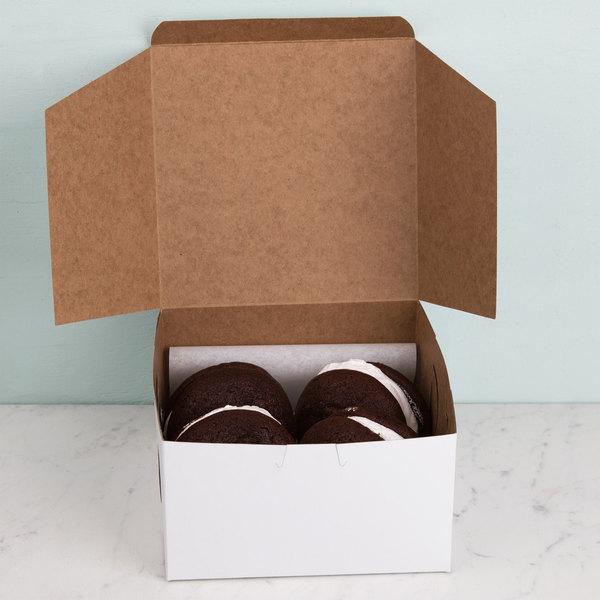 """7"""" x 7"""" x 4"""" White Cake / Bakery Box - 250/Bundle Main Image 5"""