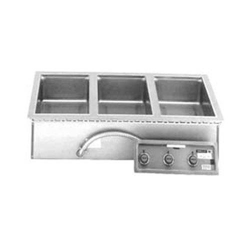 Wells 5P-MOD327TD Three Pan 4/3 Size Drop In Hot Food Well with Drain - 208/240V, 1240/1650W Main Image 1