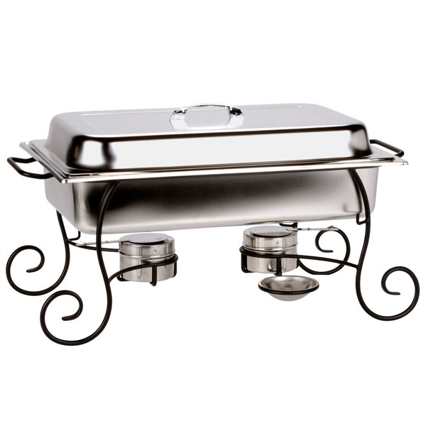 Choice 8 Qt. Full Size Chafer Set with Black Wrought Iron Stand and Stainless Steel Lid Handle