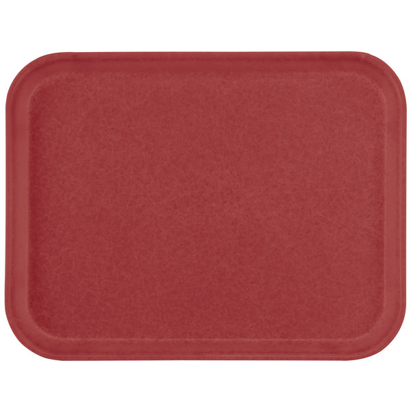 "Carlisle 1612FG97030 Customizable 12"" x 16"" Glasteel Cherry Red Fiberglass Tray - 12/Case"