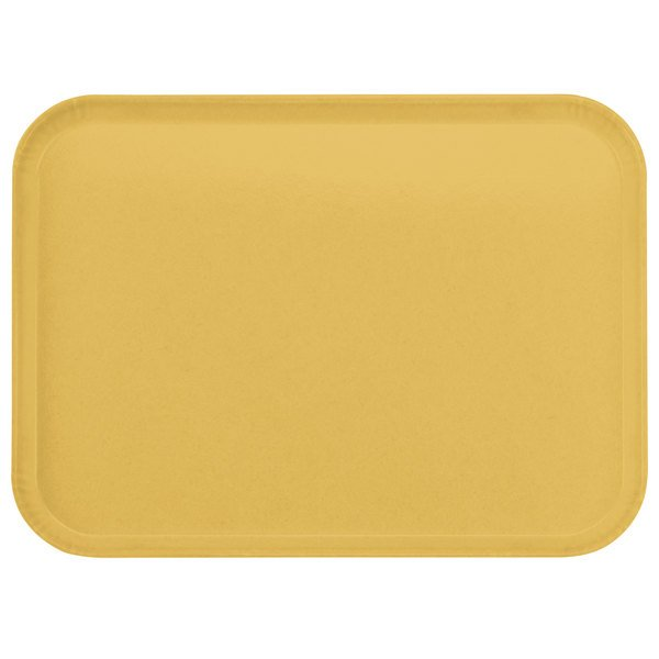 "Carlisle 2216FGQ023 Customizable 16"" x 22"" Glasteel Gold Fiberglass Tray - 6/Case"