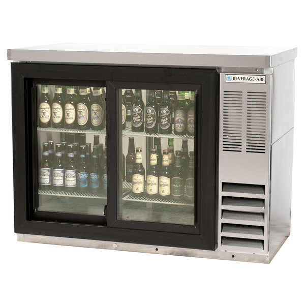 "Beverage Air BB48GSY-1-S-27-PT-LED 48"" SS Pass-Through Back Bar Refrigerator with Sliding Glass Doors and Stainless Steel Top - 115V"