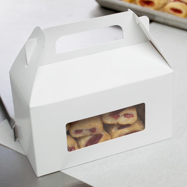 "1-Piece 1 lb. Rectangle Window Candy Box White 6 3/8"" x 3"" x 3 1/2"" - 250/Case"