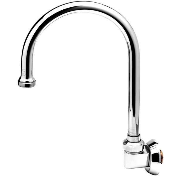 """T&S B-0525 Wall Mounted Faucet with 10 5/8"""" Swivel Gooseneck Spout and 10.24 GPM Full Flow Stream Regulator"""