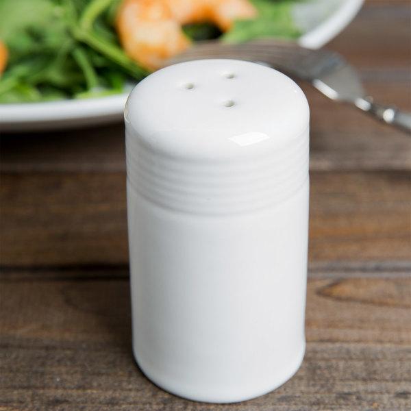 Tuxton BWI-0301 DuraTux 2 oz. White China Pepper Shaker - 12/Case