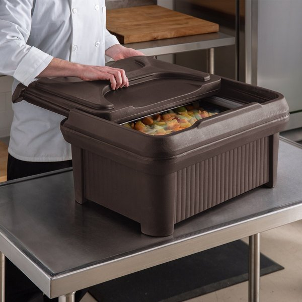 """Carlisle XT160001 Cateraide™ Slide 'N Seal™ Brown Top Loading 6"""" Deep Insulated Food Pan Carrier with Sliding Lid Main Image 4"""