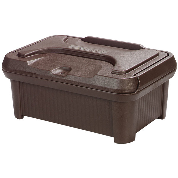 """Carlisle XT160001 Cateraide Slide N Seal 20"""" x 12"""" x 6"""" Brown Insulated Food Pan Carrier and Sliding Lid Set"""
