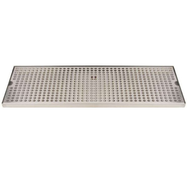 """Micro Matic DP-820D-24 8"""" x 24"""" Stainless Steel Surface Mount Drip Tray with Drain"""