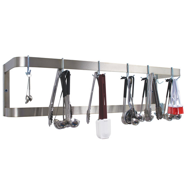 """Advance Tabco SW-108 108"""" Stainless Steel Wall Mounted Double Line Pot Rack with 18 Double Prong Hooks"""