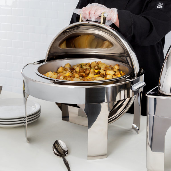 Vollrath 46265 6 Qt. New York, New York Retractable Dripless Round Chafer with Brass Trim Main Image 5