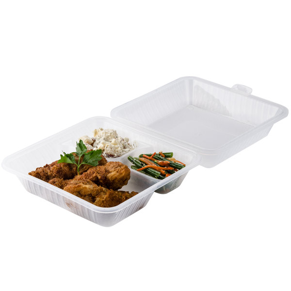"GET EC-09 9"" x 9"" x 3 1/2"" Clear Customizable 3-Compartment Reusable Eco-Takeouts Container - 12/Case"