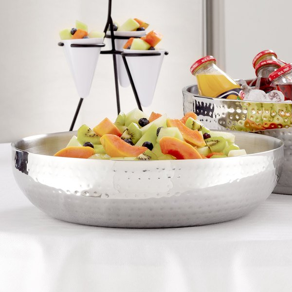 """American Metalcraft HMDWB14 14"""" Double Wall Hammered Stainless Steel Bowl Main Image 6"""