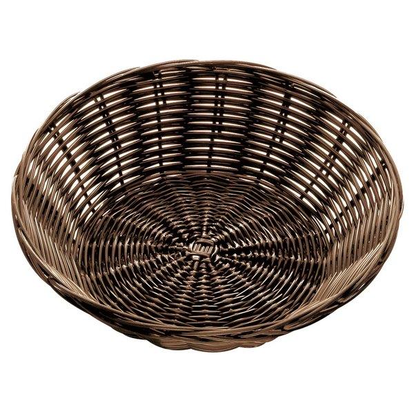 """Tablecraft 1475 8 1/2"""" x 2 1/4"""" Brown Round Rattan Basket - 12/Pack"""