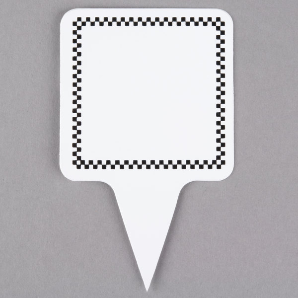 Square Write On Deli Sign Spear with Black Checkered Border - 25/Pack