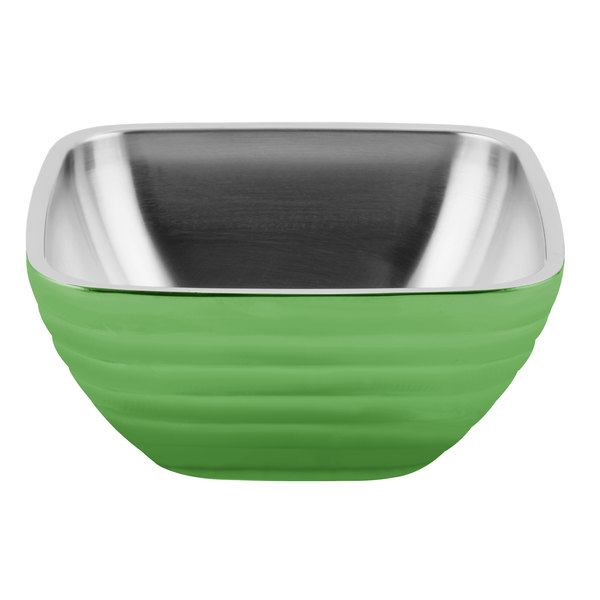 Vollrath 4763235 Double Wall Square Beehive 1.8 Qt. Serving Bowl - Green Apple Main Image 1