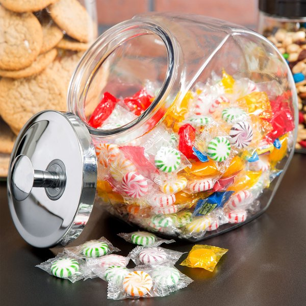 Anchor Hocking 69590AHG17 1 Gallon Glass Penny Candy Jar with Chrome Lid