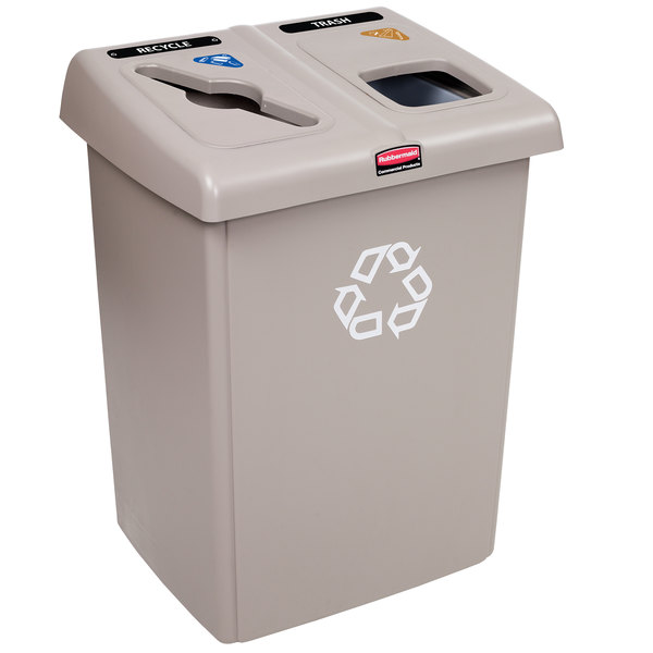 Rubbermaid 1792371 Beige 1/2 Glutton Recycling Station 46 Gallon Main Image 1