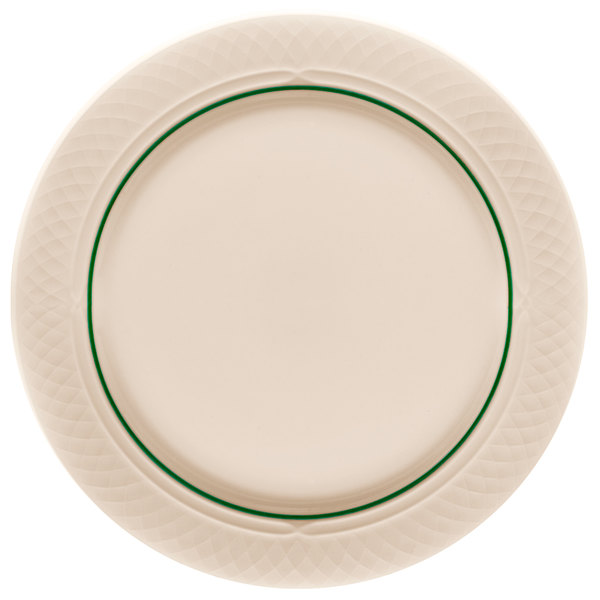 """Homer Laughlin 1430-0342 Green Jade Gothic Off White 12 1/2"""" China Plate - 12/Case"""