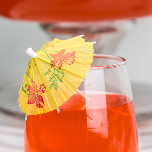 "Royal Paper RP144 4"" Drink Umbrella / Parasol Pick with Assorted Colors - 144/Box"