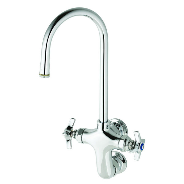 "T&S B-0315 Wall Mounted Double Pantry Faucet with Vertical 3"" Centers - 11 7/16"" High Rigid Gooseneck Nozzle with 5 1/2"" Spread"