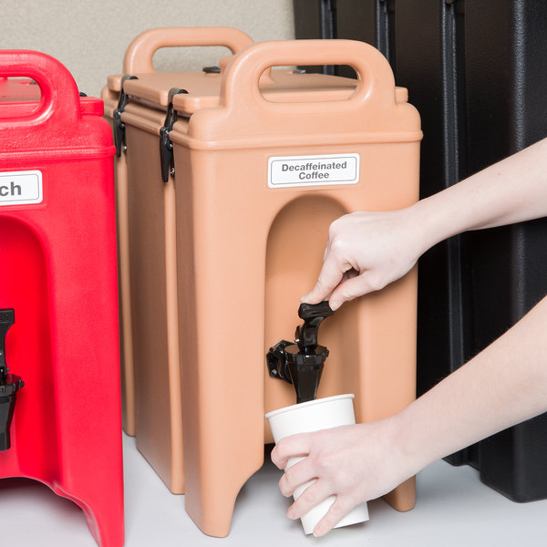 Cambro 250LCD157 Camtainers® 2.5 Gallon Coffee Beige Insulated Beverage Dispenser Main Image 5