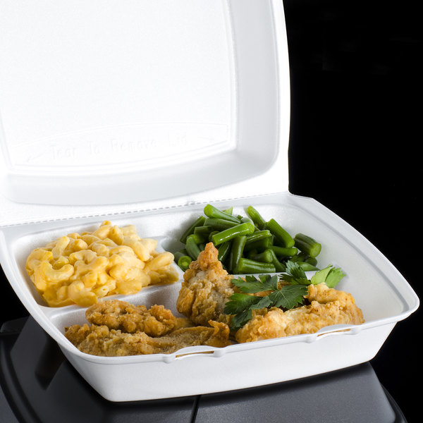 """Dart 110HT3 10"""" x 9 1/2"""" x 3 1/2"""" White Foam 3 Compartment Hinged Lid Container - 100/Pack"""