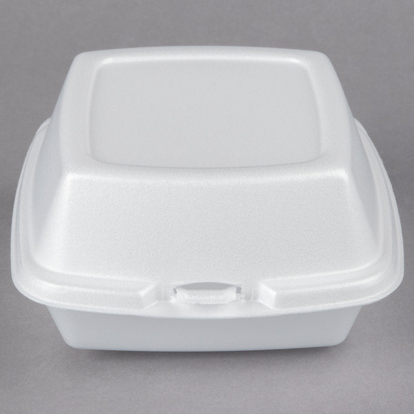 Dart 60HT1 6 inch x 6 inch x 3 inch White Foam Hinged Lid Container - 500/Case