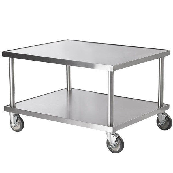 """Vollrath 4087936 36"""" x 30"""" Stainless Steel Heavy Duty Mobile Equipment Stand with Undershelf and Casters"""