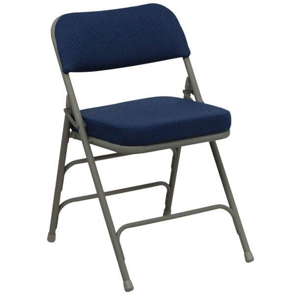 "Flash Furniture HA-MC320AF-NVY-GG Navy Blue Metal Folding Chair with 2 1/2"" Padded Fabric Seat"