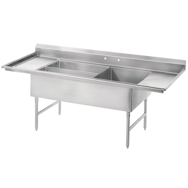 """Advance Tabco 18-K5-56 Three Compartment Meat and Platter Sink with Two Drainboards - 91"""""""