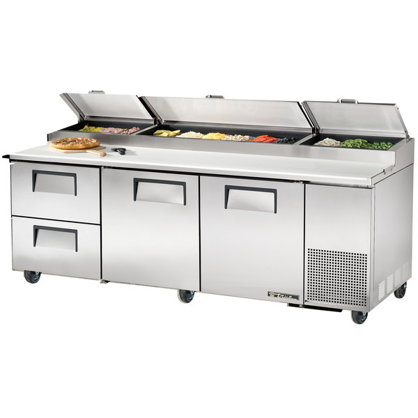 "True TPP-93D-2 93"" Refrigerated Pizza Prep Table with Two Doors and Two Drawers"