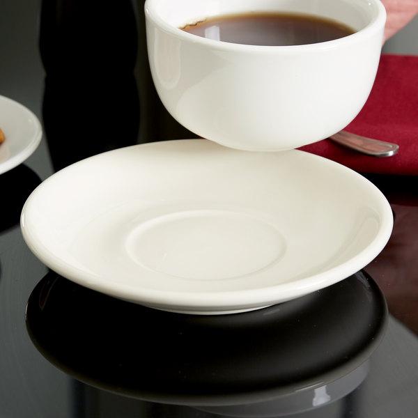 "Tuxton BEE-066 6 3/4"" Eggshell China Cappuccino Saucer - 24/Case Main Image 4"