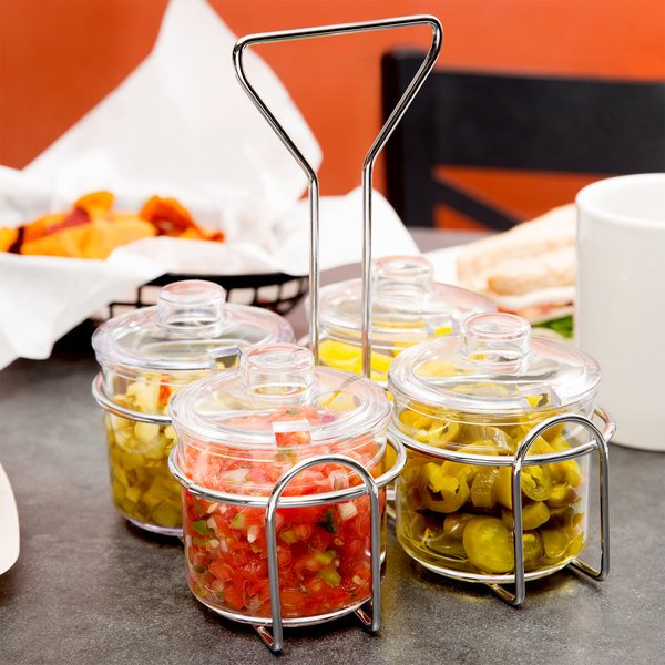 4-Hole Wire Condiment Jar Holder