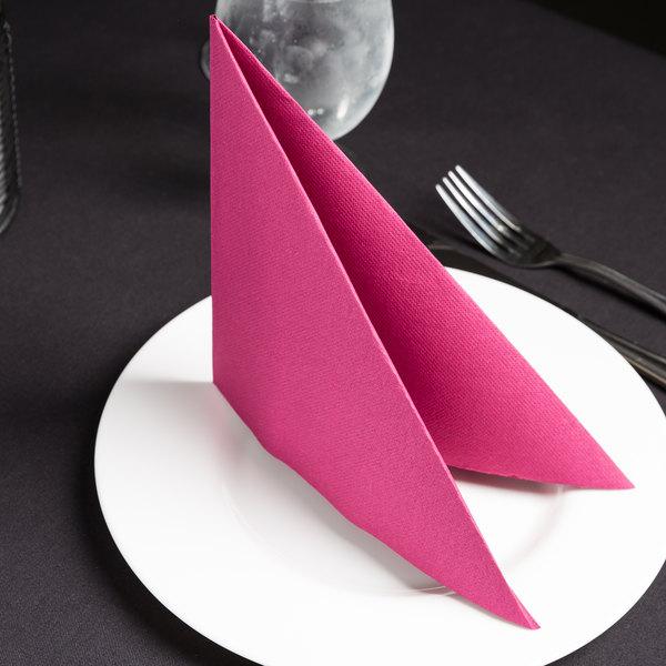 """Hoffmaster FP1504 FashnPoint 15 1/2"""" x 15 1/2"""" Burgundy Linen-Feel Dinner Napkin, 1/4 Fold - 800/Case Main Image 2"""