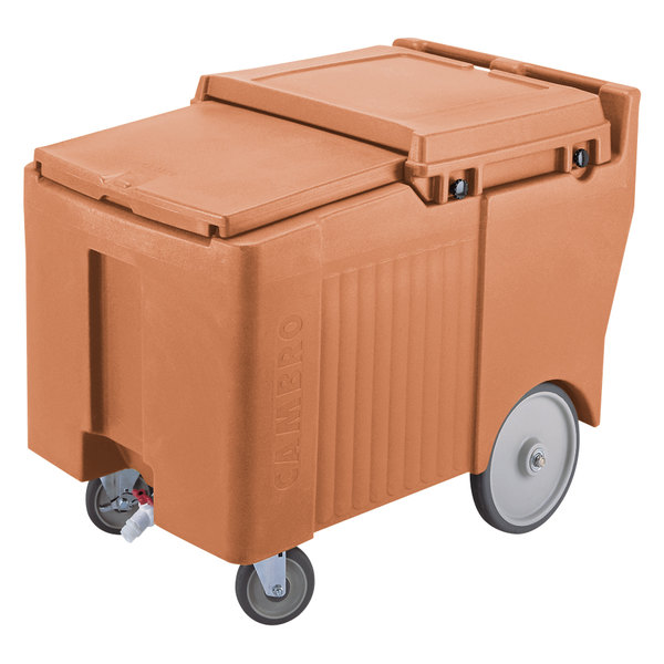 Cambro ICS175LB157 SlidingLid™ Coffee Beige Portable Ice Bin - 175 lb. Capacity Main Image 1
