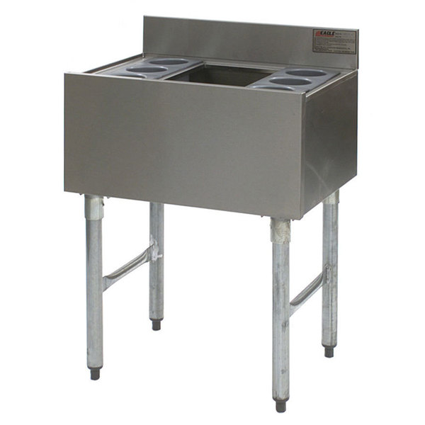 """Eagle Group B2CT-12D-22-7 24"""" Underbar Cocktail / Ice Bin with Post-Mix Cold Plate and Six Bottle Holders"""