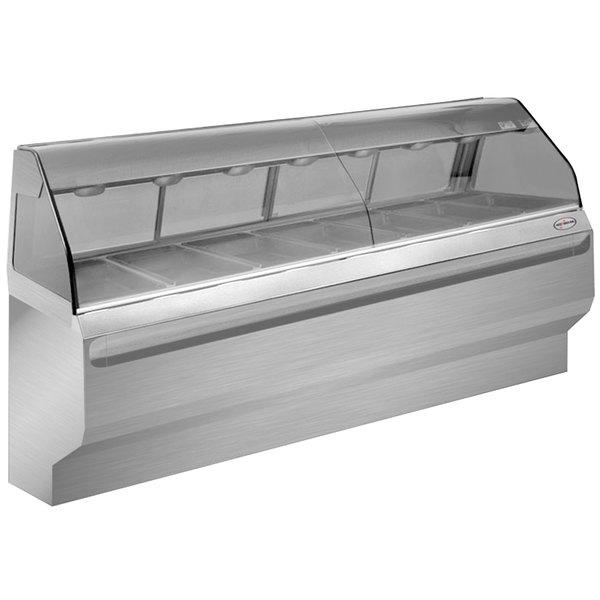 """Alto-Shaam ED2SYS-96 SS Stainless Steel Heated Display Case with Curved Glass and Base - Full Service 96"""""""