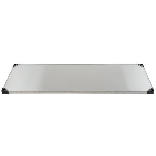 "Metro 2460FS 24"" x 60"" Flat Stainless Steel Solid Shelf"
