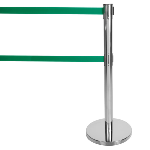 """Aarco HC-27 Chrome 40"""" Crowd Control / Guidance Stanchion with Dual 84"""" Green Retractable Belts"""