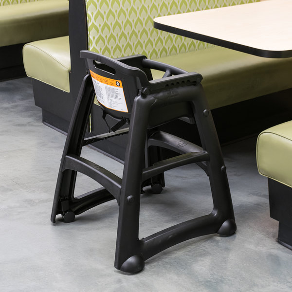 Charmant Rubbermaid FG780508BLA Black Sturdy Chair Restaurant High Chair With Wheels    Assembled