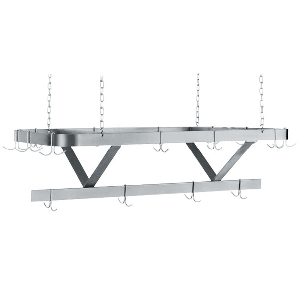 """Advance Tabco GC-108 Powder Coated Ceiling Mounted Pot Rack with 18 Hooks - 108"""" Main Image 1"""