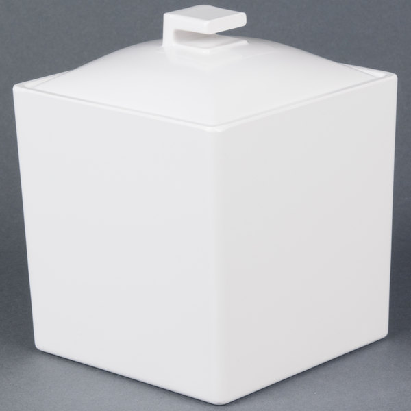 "Cal-Mil 1432-15 Eco Modern 4"" White Melamine Jar with Lid"