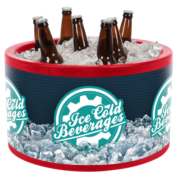 IRP 3101490 Red Icer 20 Qt. Round Countertop Merchandiser with Ice Cold Beverages Graphic Main Image 1