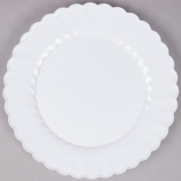 Fineline Flairware 210-WH 10 1/4 inch White Customizable Plastic Plate - 144/Case