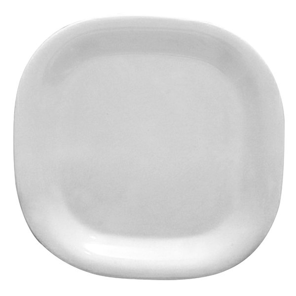Thunder Group PS3014W Passion White Round Square Plate - 6/Pack