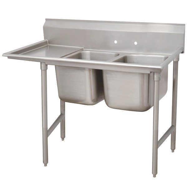 Left Drainboard Advance Tabco 9-62-36-24 Super Saver Two Compartment Pot Sink with One Drainboard - 68""