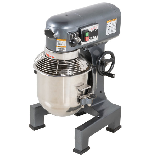 Avantco MX10 10 Qt. Gear-Driven Commercial Planetary Stand Mixer with Guard - 110V, 3/4 hp