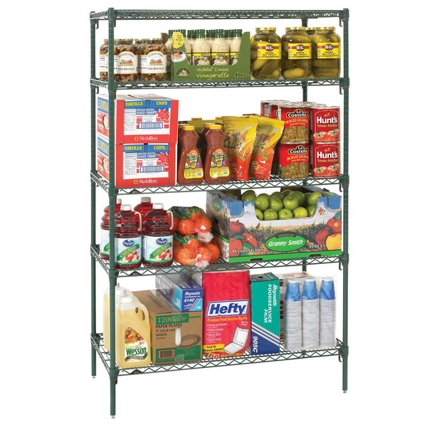 "Metro 5A367K3 Stationary Super Erecta Adjustable 2 Series Metroseal 3 Wire Shelving Unit - 18"" x 60"" x 74"""