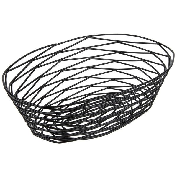 tablecraft bk17410 artisan oval black wire basket